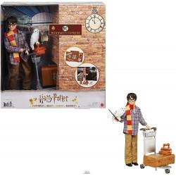 Harry Potter en la Plataforma 9 3/4, muñeco articulado de juguete con Hedwig y carrito portaequipajes con accesorios y pegatinas